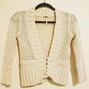 Free People Beige Knit Cardigan
